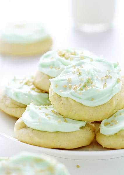 Sugar Cookies with Green Buttercream and Gold Sprinkles