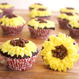 Chocolate Sunflower Cupcakes