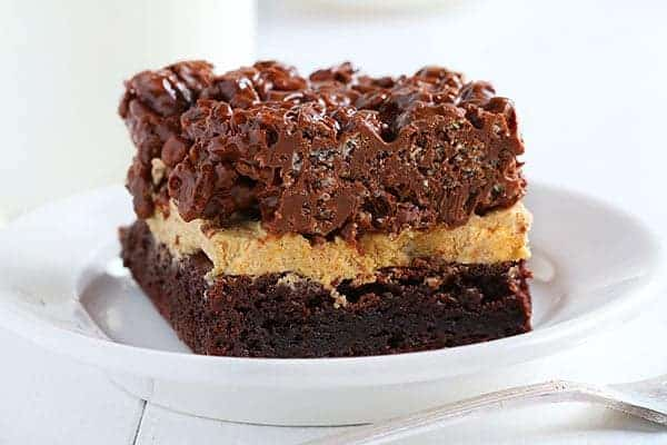 Double Chocolate Brownies with Pumpkin Frosting and Chocolate Krispy Cereal Topping!