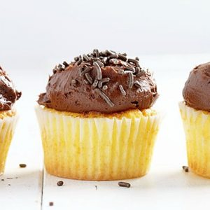 The Perfect Yellow Cupcake with a delicious Whipped Chocolate Buttercream! iambaker.net