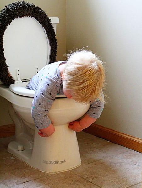 Toddlerhood Survival Guide: Toddler in Toilet https://iambaker.net