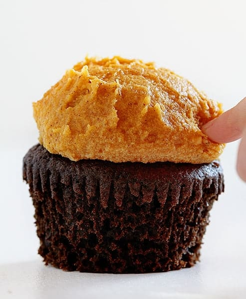 The Perfect Chocolate Cupcake with Pumpkin Spice Buttercream!