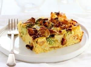 Breakfast Strata (Broccoli, Mushroom, and Cheese Eggbake)