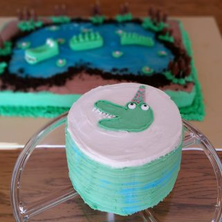 Alligator First Birthday Cake