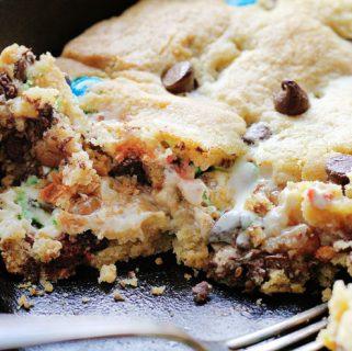 M&M® Caramel Marshmallow Skillet Cookie