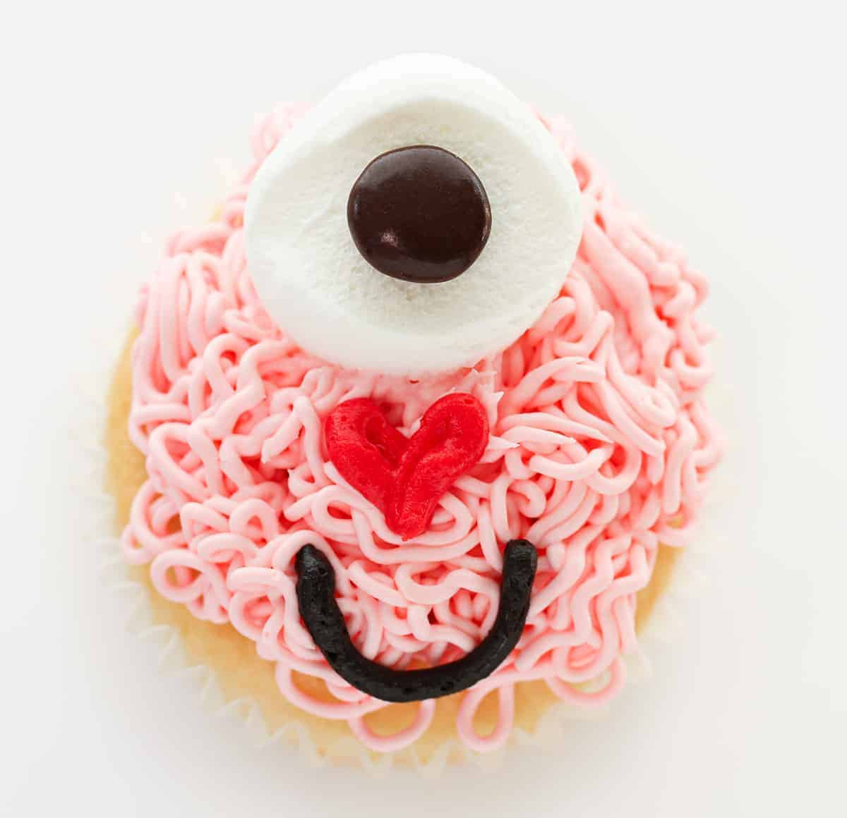 One Love Monster Valentine Cupcake from Overhead
