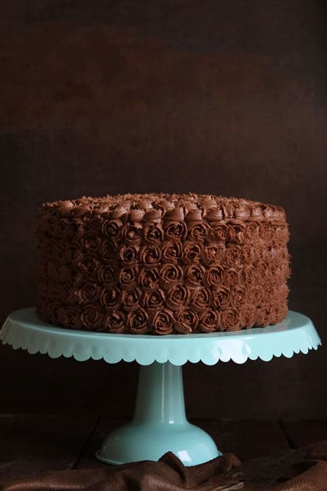 Mini Rosettes on a Chocolate Cake with Chocolate Coffee Buttercream!