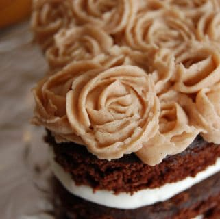 Mini Heart Chocolate Cake with Cinnamon Buttercream Roses