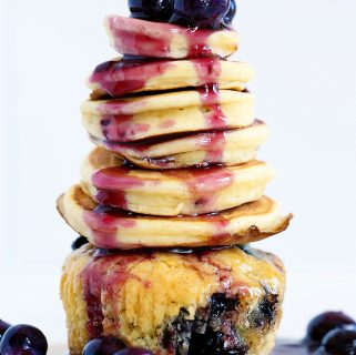 How to 'Extreme Cupcake' {blueberry muffin, pancake, and fresh blueberry jam}
