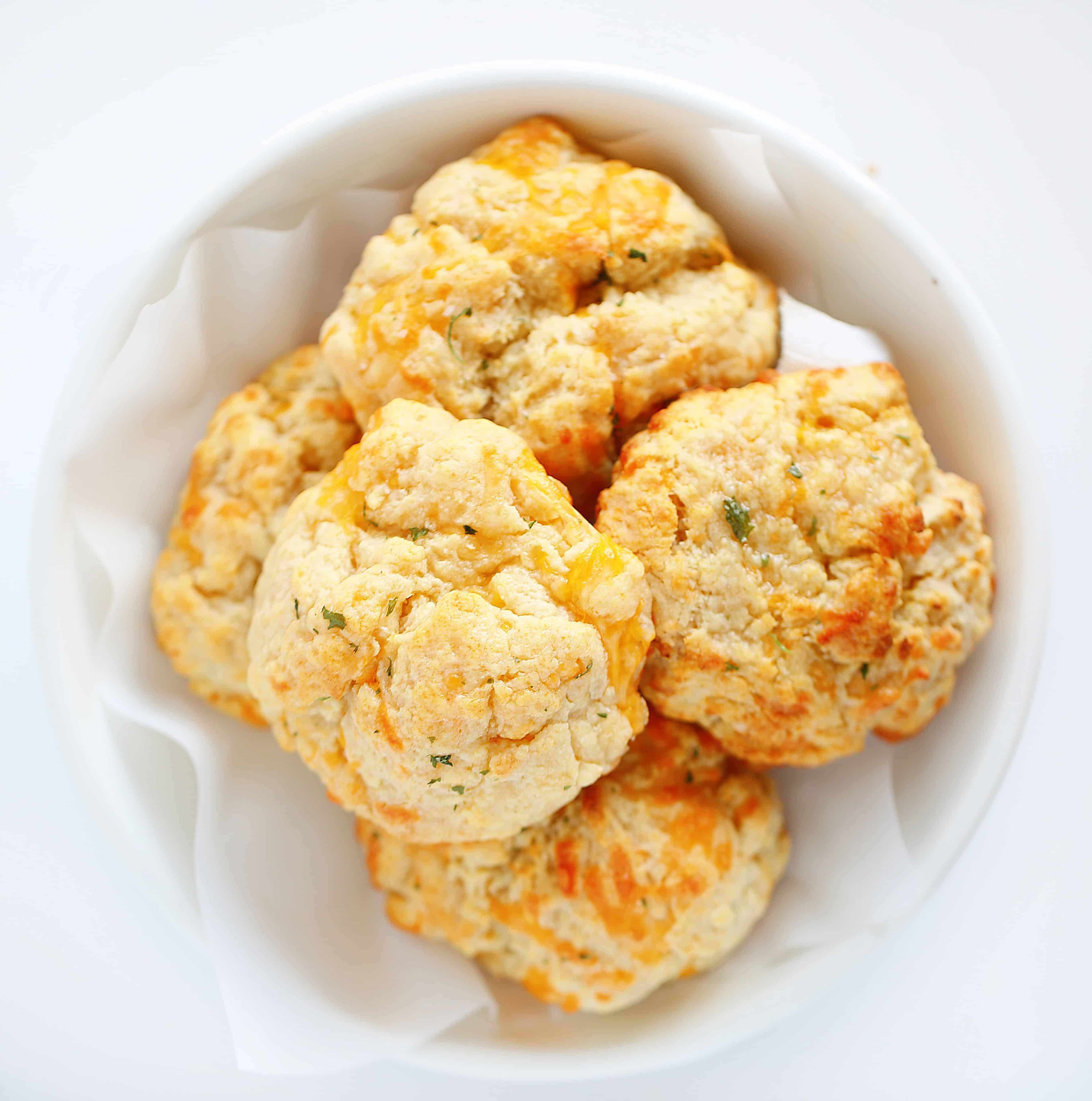 Overhead of Cheesy Garlic Biscuits