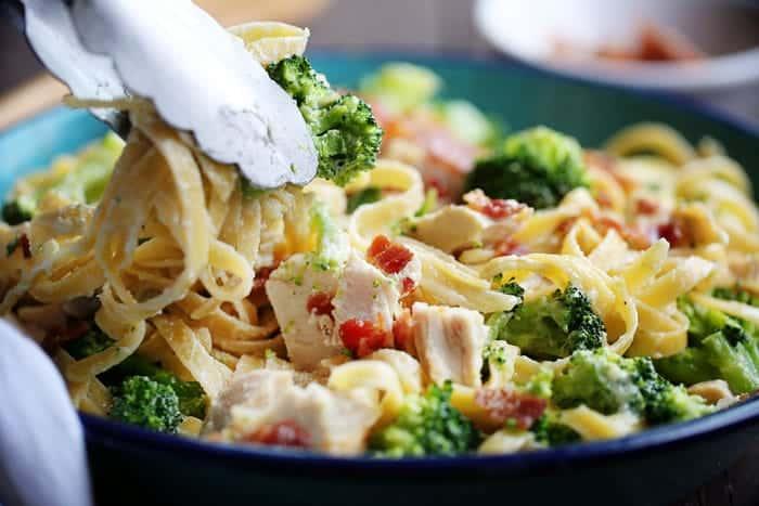 Chicken Fettuccine Alfredo with Bacon and Broccoli