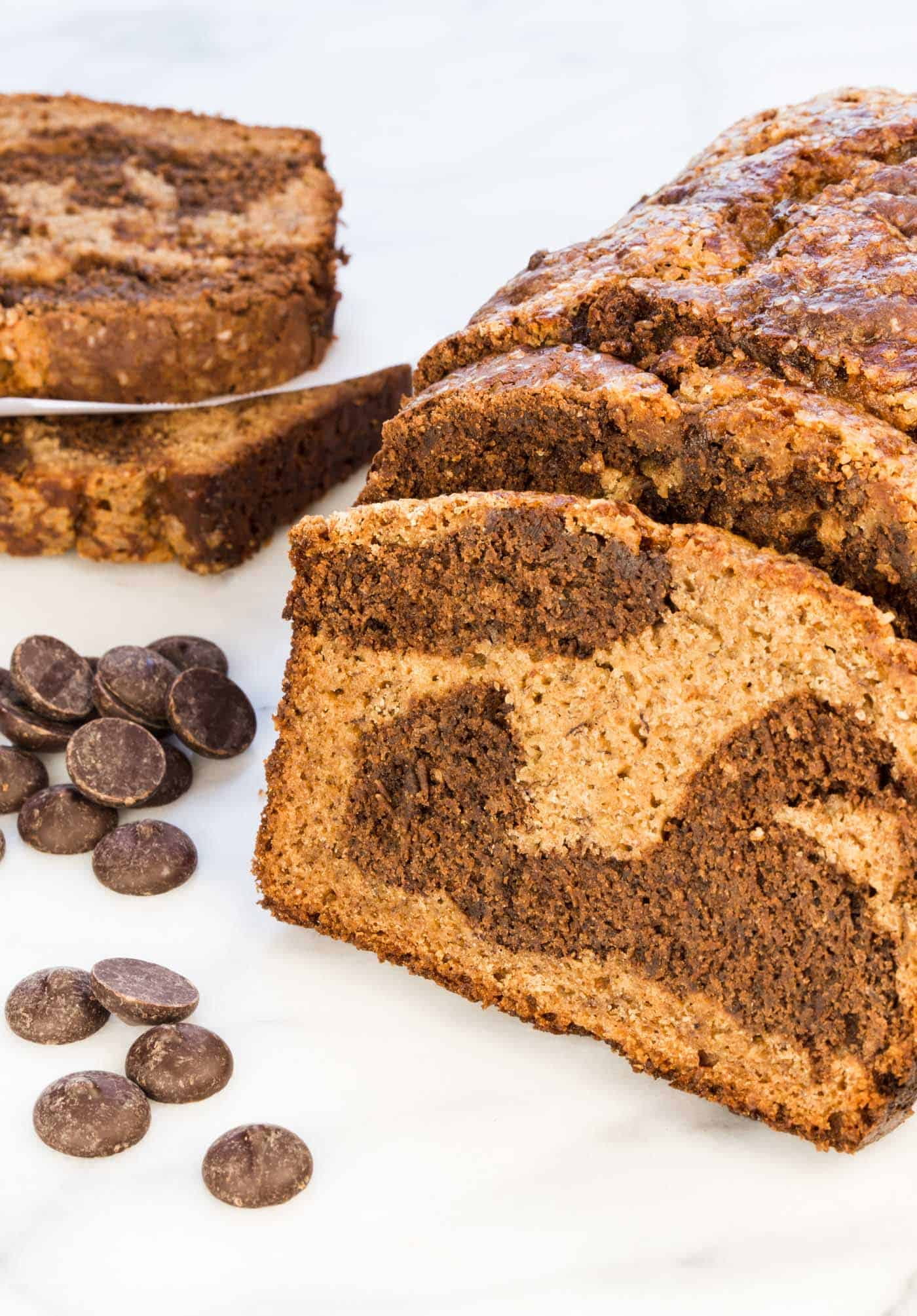 Chocolate Marbled Banana Bread - i am baker