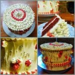 Red velvet cake with white chocolate butter cream frosting