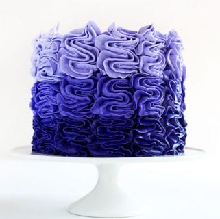 Purple Ombre Messy Ruffle Cake