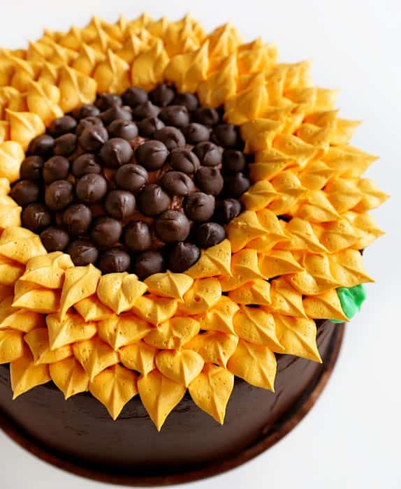 Dark Green Sunflower Cake