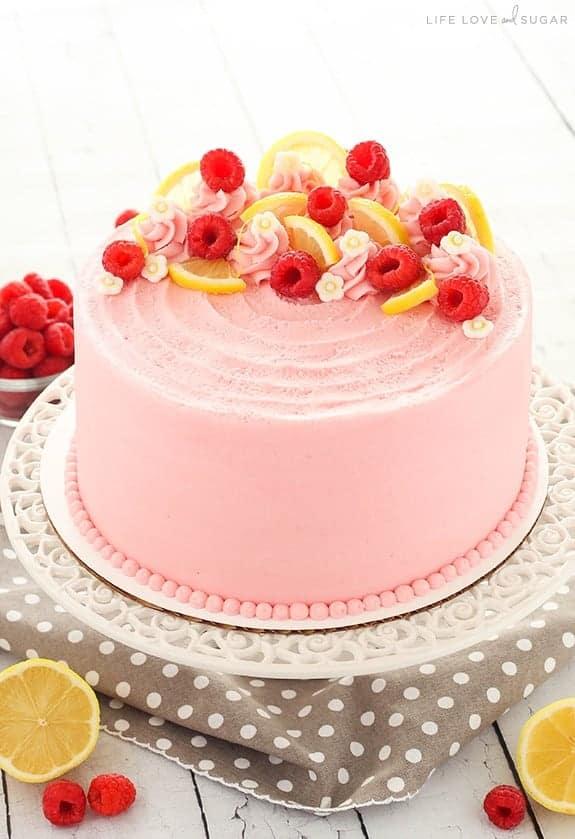 Lemon Raspberry Layer Cake - i am baker