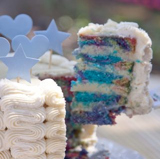 colorful cake  with white buttercream