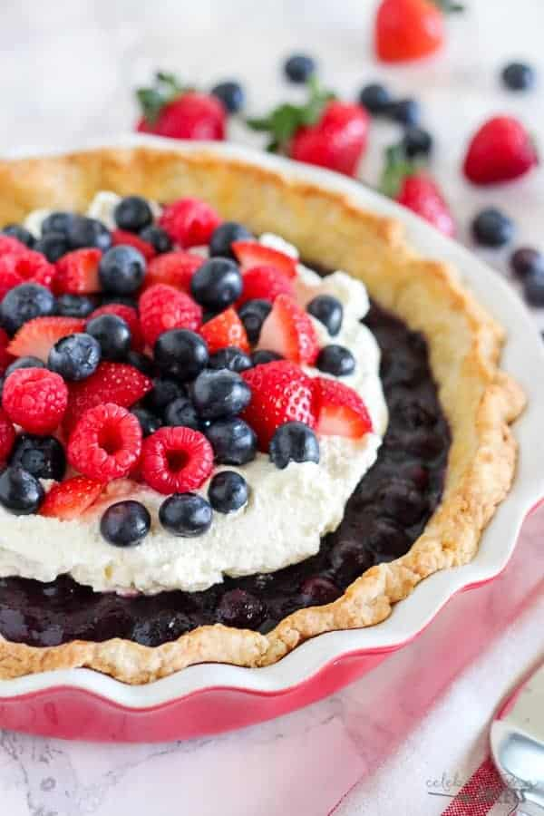 Blueberry Pie With Whipped Cream And Mixed Berries I Am