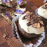 Snickers Cupcakes with Salted Caramel Frosting