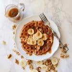 Banana Bread Waffles, Caramel Syrup