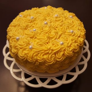 Golden Rosette Layer Cake