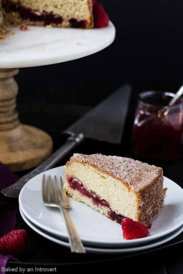 Raspberry Jelly Donut Coffee Cake - i am baker