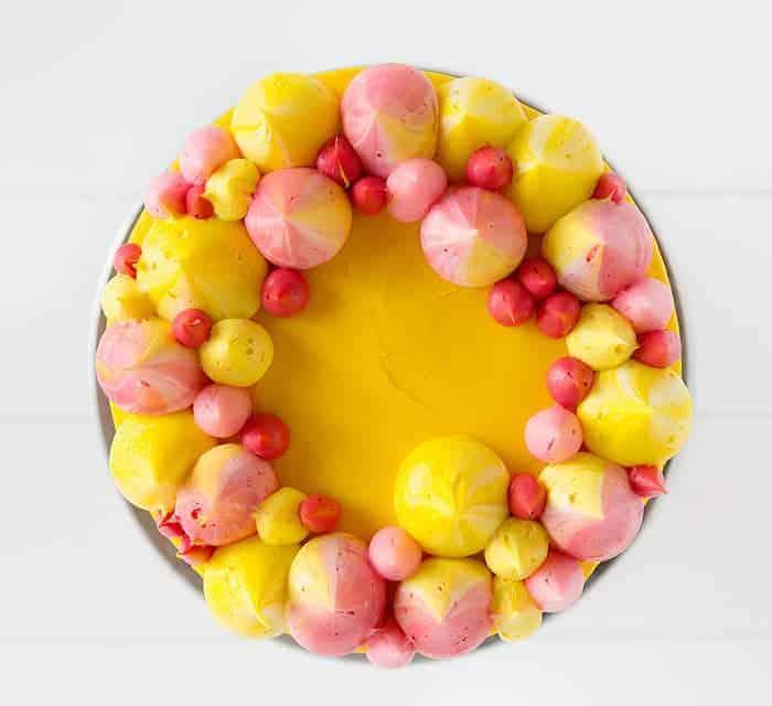 Pink Amp Yellow Buttercream Cake I Am Baker