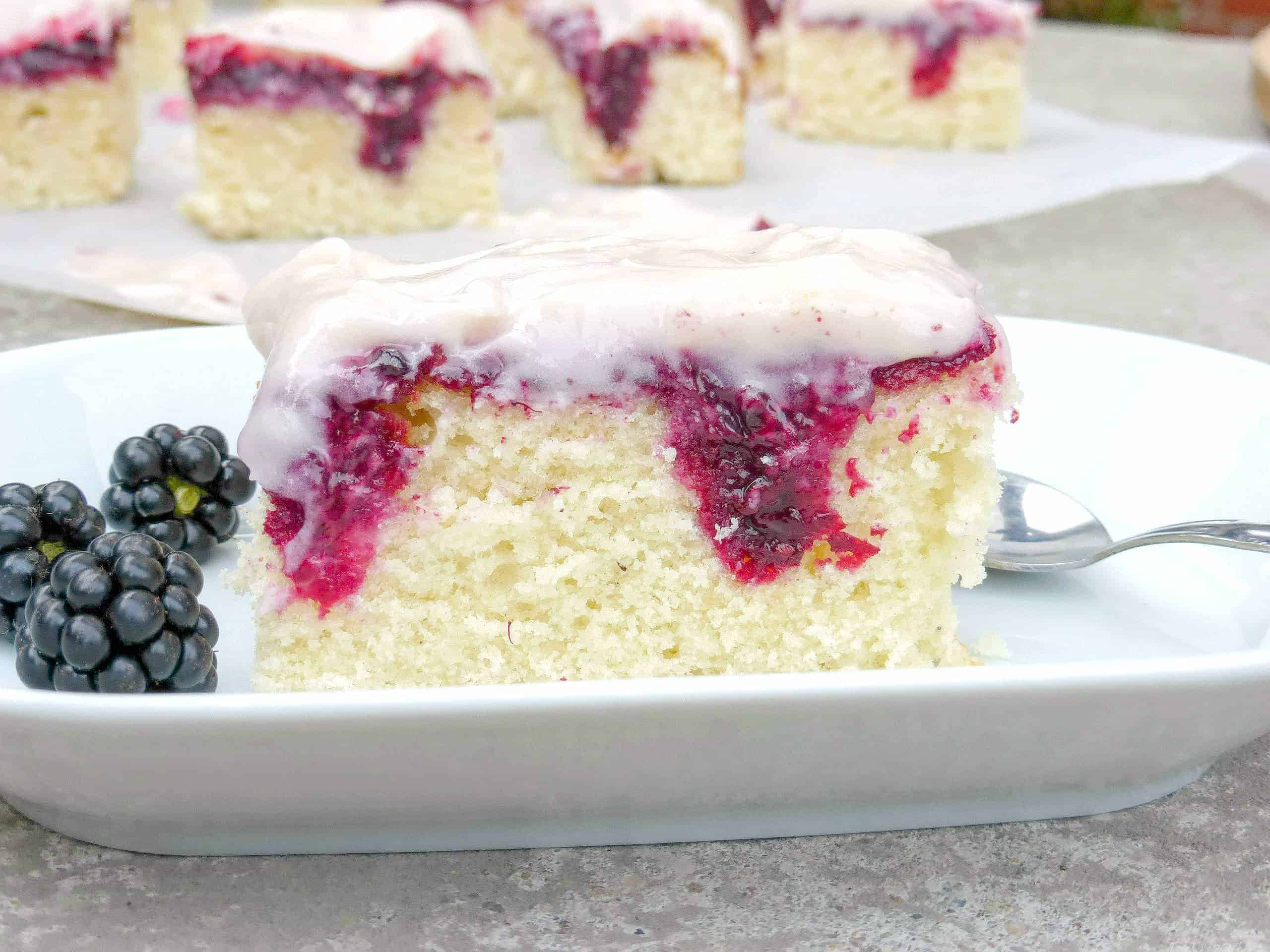 Blackberry And White Chocolate Poke Cake I Am Baker