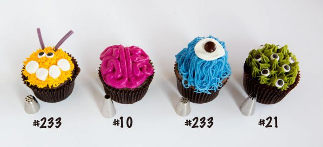 Monster Cupcakes with decorating tips used for each cupcake.
