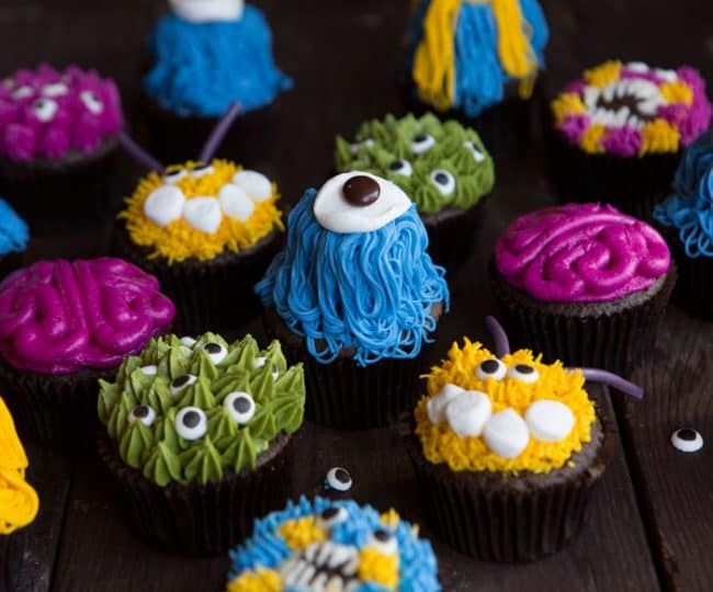 Colorful Monster Cupcakes