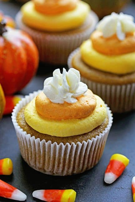 Delicious and Moist Pumpkin Cupcakes with Vanilla Buttercream colored ...