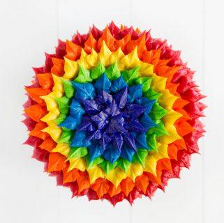 Rainbow Leaf Tip Cake