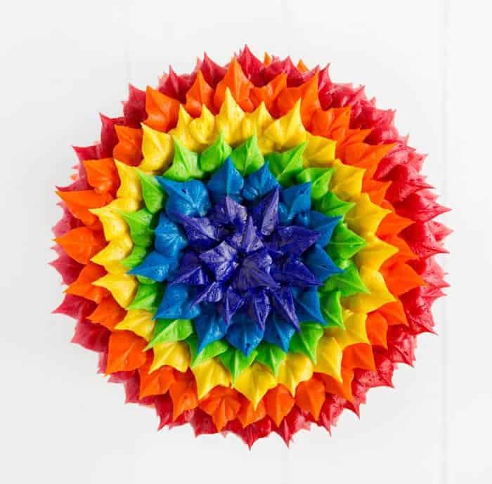 Rainbow Leaf Tip Cake - i am baker