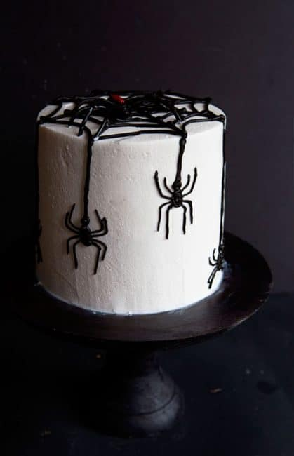 Side view of Spider Cake on cake stand