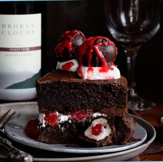 Chocolate Cake with Red Wine Chocolate Covered Cherries