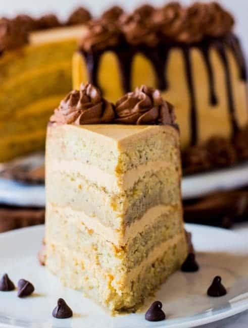 Peanut butter Banana Cake with Whipped Ganache - i am baker