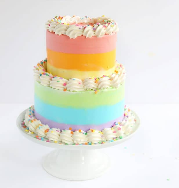 Rainbow Surprise Cake Chocolate Icing