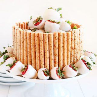 White Cake with White Wine Buttercream and Chocolate Covered Strawberries