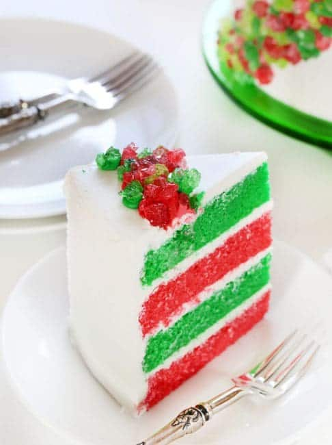 Red and Green and lots of CANDY make this one of the most festive Holiday cakes you will ever see!