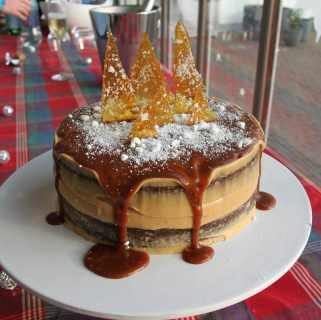 espresso cake with russian earl grey buttercream and salted caramel sauce