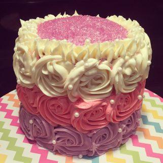 Spelt  Flour Almond Cake with Rosewater Buttercream