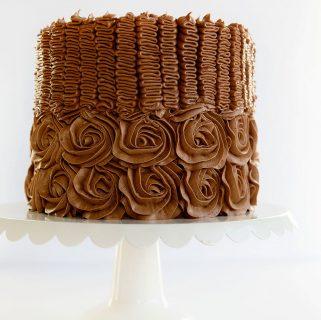 Chocolate Rose & Ribbon  Rainbow Cake