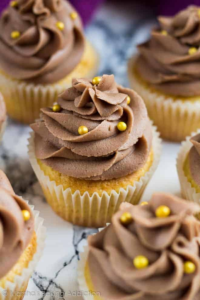 Yellow Cupcakes With Chocolate Buttercream Frosting I Am