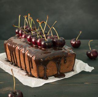 Chocolate Cherry Banana Bread with Honeyed Chocolate Glaze