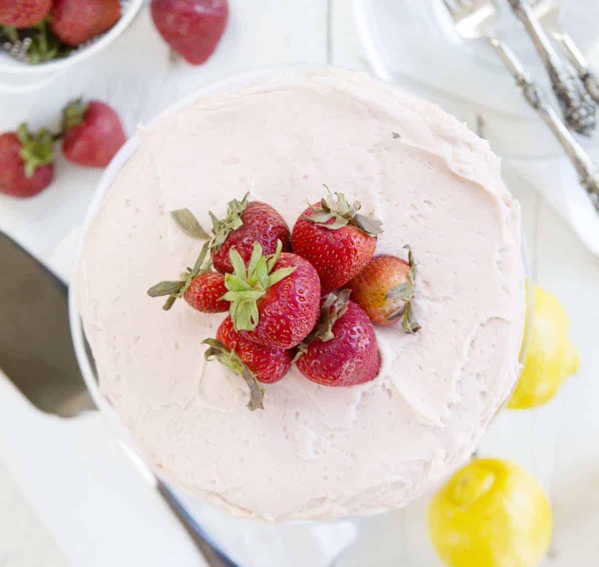 Lemon Cake with Strawberry Buttercream