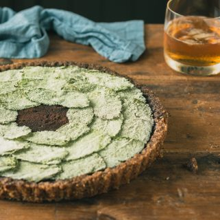 Chocolate Bourbon Pie with Candied Mint & a Brown Sugar Pecan Crust