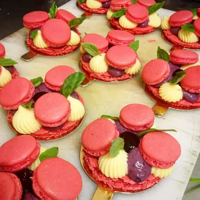 ... berries ganache and berries gelly fresh basil topped with macarons et