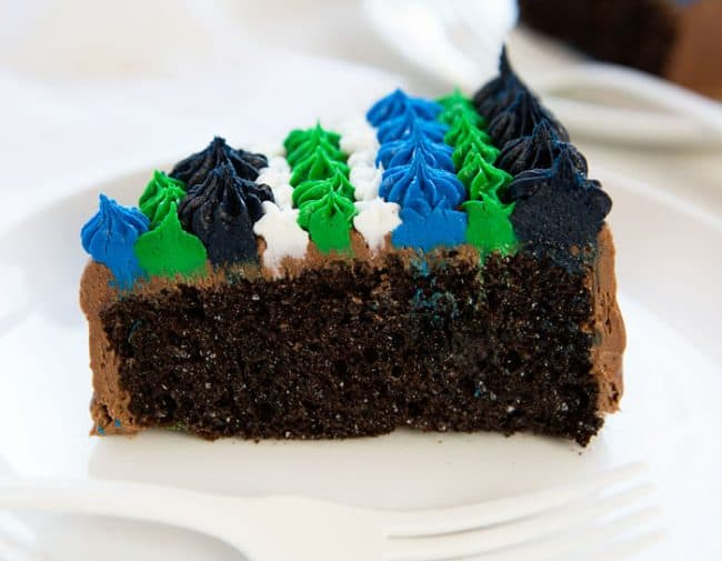 "This slice of chocolate cake is part of the letter ""D"" in an Easy DAD cake! SO delicious!"