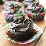 Dark Chocolate Brownie Cupcakes with Dark Chocolate Creamy Frosting