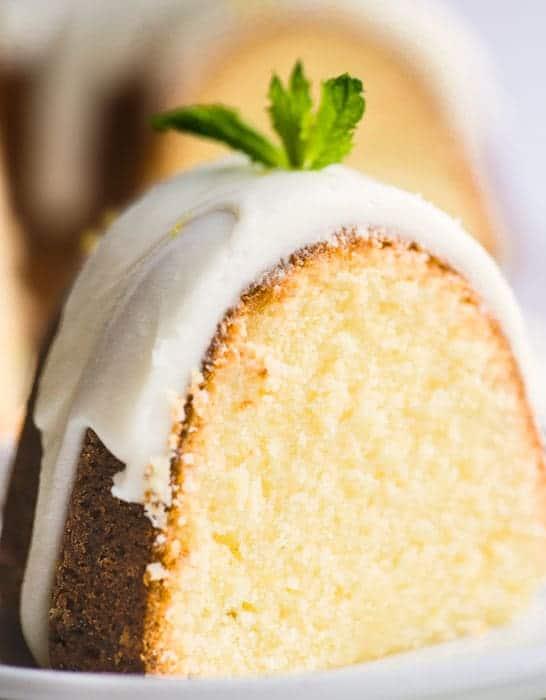 Close up of a Slice of Lemon Bundt Cake